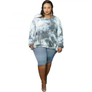 Autumn  plus Size Women  Clothes   Fashion Personality Tie-Dye plus Size Slimming Sweatshirt - Gray - XXXX Large