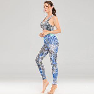 Hot Tie-Dyed Trousers Vest Yoga Suit Sports Workout Beauty Back Suit - Blue - Extra Large