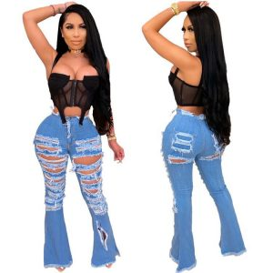 Leisure Ripped Burning Flower Personality Street Trend Horn Denim Trousers - light blue - XX Large