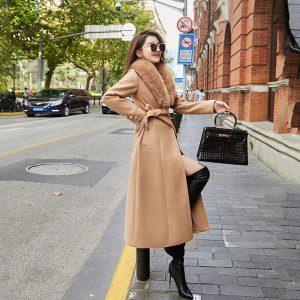 Big Fur Collar Woolen Thick 2021 Winter New Korean Style Waist Slimming below the Knee Woolen Overcoat - Khaki - XXX Large