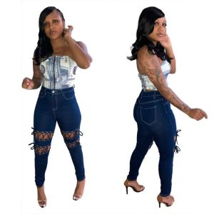 Fashion  Style Women Corns Ripped Tied Slim Fit Sexy Jeans - Blue - XX Large