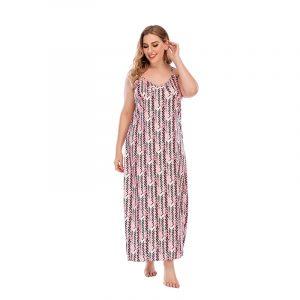 Homewear Slip Dress V-neck Plump Girls Pink Chanel-Style Younger Pattern Print Long Dress - Pink - XXXX Large