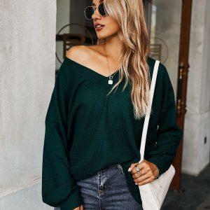 Fashion Women  Wear Long Sleeve Knitwear  V-neck Sexy Top - blackish green - Extra Large