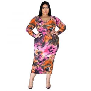 Autumn and Winter  Women  Clothing Waist Trimming Fashion Printed plus Size Dress - Multi - XXXX Large
