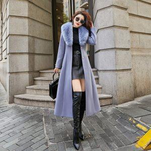 Big Fur Collar Woolen Thick 2021 Winter New Korean Style Waist Slimming below the Knee Woolen Overcoat - Purple - XXX Large