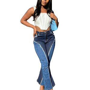 Women Clothing  New Washed Distressed Stitching Color Matching Bootcut Trousers Sexy Jeans - Denim Color Matching - XX Large