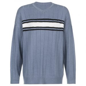 2021 Knitted Sweater T-shirt Women Autumn and Winter New Style Loose Street V-neck Striped Sweater Women - Blue - Large