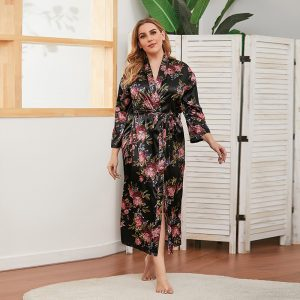 Spring and Autumn Artificial Silk Large Size Women Thin Long-Sleeved Home Wear Can Be Worn outside Nightgown - Black - XXXXX Large