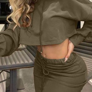 Women New Lantern Sleeve Hooded Top and Drawstring Extra Long Skirt Suit - Army Green - Extra Large
