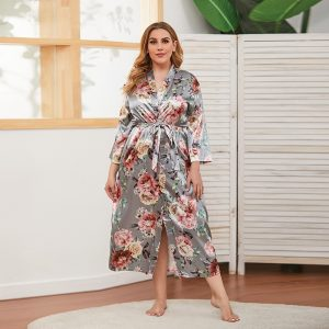 Spring and Autumn Artificial Silk Large Size Women Thin Long-Sleeved Home Wear Can Be Worn outside Nightgown - Gray - XXXXX Large