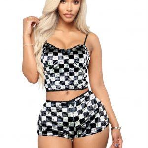 Fashion Printed Velvet Sexy Shorts Pajamas Women Suit - Black and White Squares - XX Large