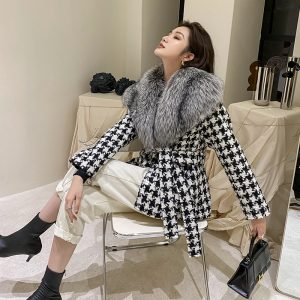 Galaxy Painted Day Full Leather Silver Fox Fur Big Fur Collar Houndstooth Double-Faced Woolen Goods Belt Slimming Fur Coat Women Short - Silver Fox Natural Color - Large