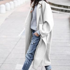 2021 Plus Size Fall Winter Women Clothing Casual Long Pure Color Warm Keeping Woolen Coat - White - XXXX Large