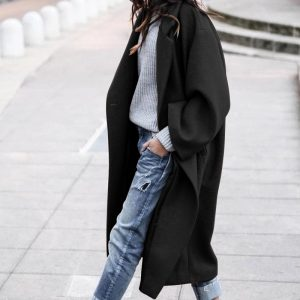2021 Plus Size Fall Winter Women Clothing Casual Long Pure Color Warm Keeping Woolen Coat - Black - XXXX Large
