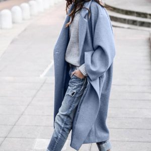 2021 Plus Size Fall Winter Women Clothing Casual Long Pure Color Warm Keeping Woolen Coat - Blue - XXXX Large