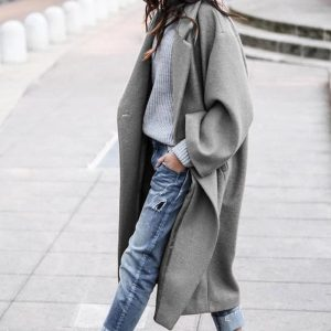 2021 Plus Size Fall Winter Women Clothing Casual Long Pure Color Warm Keeping Woolen Coat - Gray - XXXX Large
