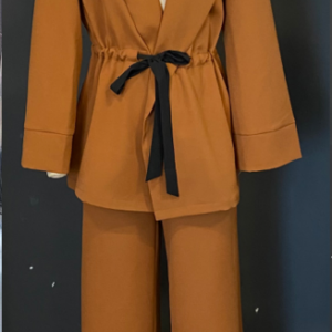 Elegant 2 Pieces Suits Office Ladies Blazer With Lace Up And Wide Leg Pants Pajama Style Chic Autumn Winter Sets New - Khaki - Large