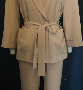 Casual 2 Pieces Suits Women Autumn Blazer And Pants Pajama Style With Belt Chic Office Ladies Pocket Winter Elegant Sets - Khaki - Large