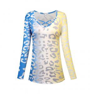 2021 New Plus Size Women Clothes Leopard Print Gradient V Neck Long Sleeve Loose T-shirt - Blue - XXXXX Large