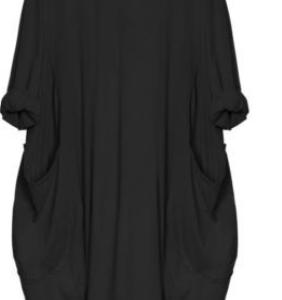 2021 New Loose Casual Plus Size Short Sleeve Dress - Black - XXX Large