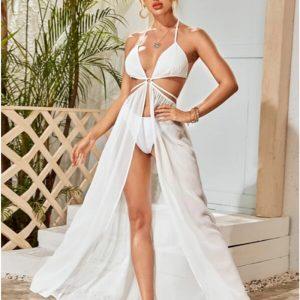 Summer  Sexy Temperament Women  Halter Asymmetric Skirt Dress - White - Large