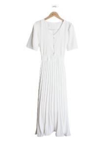Korean Style Chic Elegant Pleated Chiffon Korean Short-Sleeved Dress Pleated Skirt Women Summer Waist-Tight - Ivory - One Size