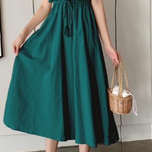 Style Dress 2021 Summer New Women Clothing Elegant Slimming Mid-Length Cotton Linen Short Sleeve Dress - blackish green - XX Large