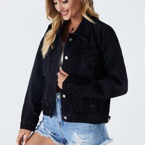 2021   Black Jacket Short Slim Jacket Slimming Denim Jacket - Black - Large