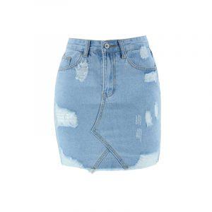 Summer Skirt Large Size Women Ripped Tassel Dress Denim Skirt Sheath - Light Blue - Extra Large