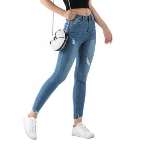 Style Jeans Women Mid-Waist Stretch Worn Washed Slim Trousers - Blue (Primary Color) - Extra Large