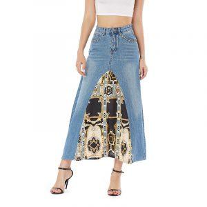 Denim Long Skirts Dress Skirt Denim Spring Summer Slim-Fit Slimming - Blue - Large