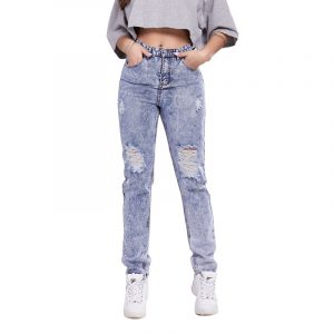 Slim Fit Hip Raise Skinny Ripped Women Jeans - Navy Blue - Large
