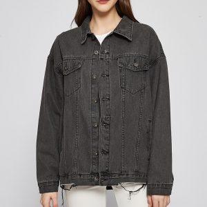 Denim Jacket Women Autumn and Winter Style Gray Jacket Coat - Gray - Large