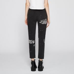 Jeans Women Autumn and Winter Black Pattern Ripped Straight Flare Cut Pants - Black - Large