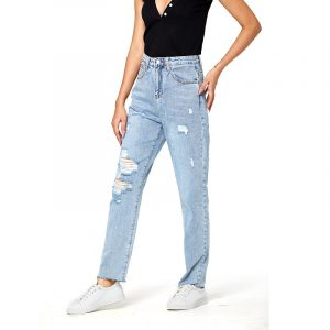Jeans Women Ripped   Jeans Baggy Straight Trousers - light blue - Large