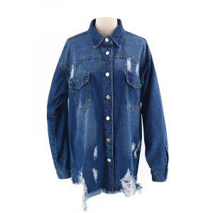 Denim Jacket Female Raw Hem Ripped Long Shirt Denim Jacket Female - Blue - Large