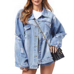 Women Denim Jacket Women Hole Fashion Denim Jacket - Blue - Large