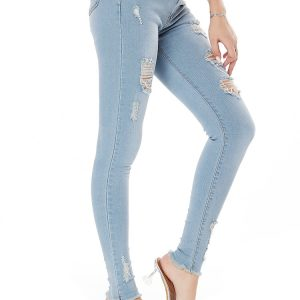 2021   Style Jeans Women Stretch Washed Slim Fit Women Jeans Skinny Pants - Light Blue - Extra Large