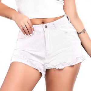 Denim Shorts Women Summer Rough  Style in Black Spring/Summer Jeans Shorts - White - Extra Large