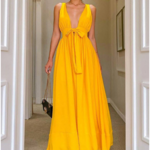 2021 New Bright Yellow Sexy Backless Spaghetti Straps Strap Dress - Yellow - Extra Large