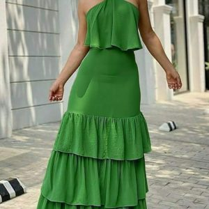 2021  New Green Halter Lace Sling Long Dress - Green - Extra Large