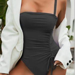 Drawstring One Piece Swimsuit Women Solid Swimwear Female 2021 Vintage Bathing Suit Sports Monokini Bodysuit One Shoulder - Black - Large