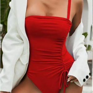 Drawstring One Piece Swimsuit Women Solid Swimwear Female 2021 Vintage Bathing Suit Sports Monokini Bodysuit One Shoulder - Red - Large