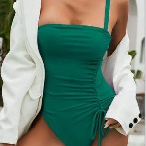 Drawstring One Piece Swimsuit Women Solid Swimwear Female 2021 Vintage Bathing Suit Sports Monokini Bodysuit One Shoulder - Multi-2 - Large