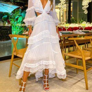 2021   Temperament Commute Wide Hem Lace Retro Court Waist Slimming Dress - White - Extra Large