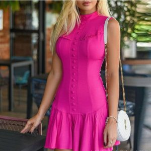 2021  New Rose Red Sleeveless Tight Dress - Red - Extra Large
