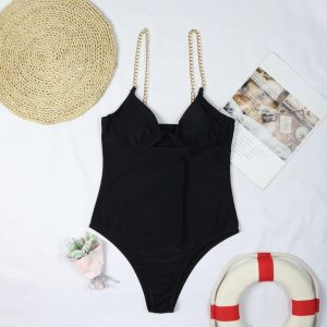 One Piece Swimsuit Women Swimming Suit Chain Swimwear Female 2021 Solid Bathing Suit Underwired Bodysuit - Black - Large