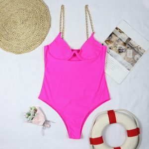 One Piece Swimsuit Women Swimming Suit Chain Swimwear Female 2021 Solid Bathing Suit Underwired Bodysuit - Red - Large