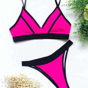 2021 Sexy Neon Bikini Set High Cut Bathing Suit Patchwork Swimsuit Female Push Up Swimwear Swimming Suit For Women Beach Wear - Red - Large