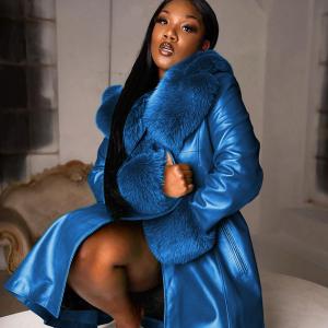 Autumn and Winter Solid Color Lapel Long Pu Stitching Big Fur Collar Temperament Commute Zipper Coat Plus Size - Blue - XXXXX Large